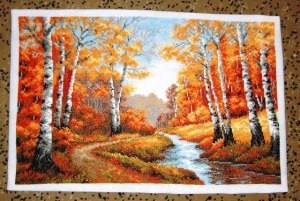 Cross stitch pattern FREE download as PDF file with autumn trees