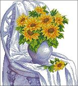 Cross-stitch pattern FREE download as PDF file with sunflowers