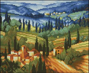 Cross stitch pattern FREE download in PDF file with countryside landscape