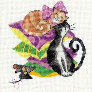 Cross stitch pattern FREE download in PDF file with two cats in love