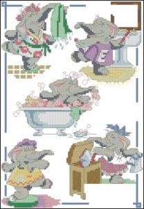 Cross stitch pattern FREE download in PDF file with elephant bathroom