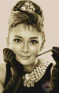 Cross stitch pattern FREE download in PDF file with Audrey Hepburn