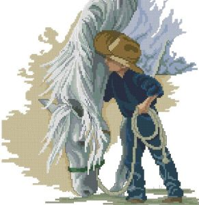 Download cross stitch pattern in PDF file with little cowboy