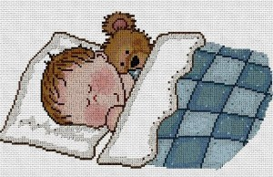 Cross stitch pattern FREE download in PDF file with sleeping baby