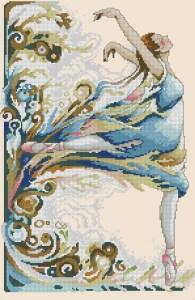 Download cross stitch pattern in PDF file with beautiful ballerina