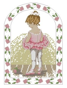 Cross stitch pattern download in PDF file with little ballerina