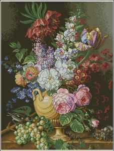 Download cross stitch pattern in PDF file with vase of flowers