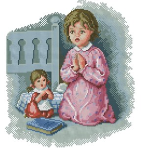 Cross stitch pattern to download in PDF file with girl and doll praying