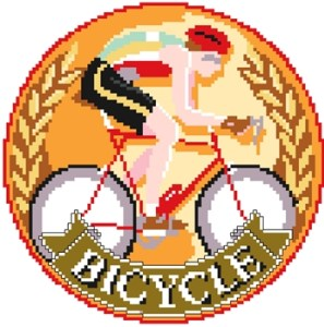Cross stitch pattern FREE download in PDF file with a Cyclist