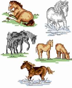 Cross stitch pattern FREE download in PDF file with horses