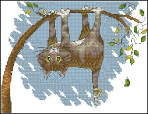 Cross stitch pattern FREE download in PDF file with cat hanging from a tree