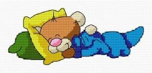 Cross stitch pattern FREE download in PDF file with Teddy bear sleeping