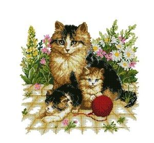 Cross stitch pattern with FREE download instantly in PDF file, to embroider a family of cats