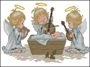 Cross stitch pattern with FREE download instantly in PDF file, to embroider the child Jesus and three angels