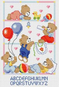 Cross stitch pattern with FREE download instantly in PDF file, to embroider babies bear