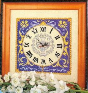 Cross stitch pattern with FREE download instantly in PDF file, to embroider a classic clock