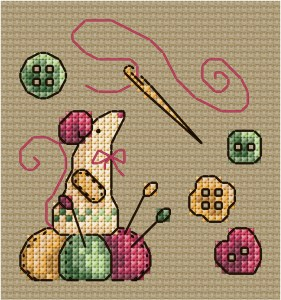 Cross stitch pattern with FREE download instantly in PDF file, to embroider a sewing mouse