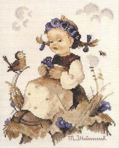Cross stitch pattern with FREE download instantly in PDF file, to embroider a peasant GIRL