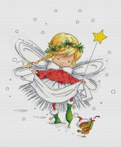 Cross stitch pattern with FREE download instantly in PDF file, to embroider a little fairy
