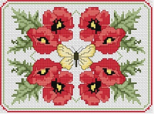 Cross stitch pattern with FREE download instantly in PDF file, to embroider poppies composition
