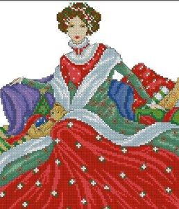 Cross Stitch Pattern FREE download instantly in PDF file, to embroider a Victorian Lady