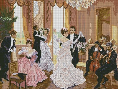 Cross Stitch pattern for download PDF, print and embroider vintage dance