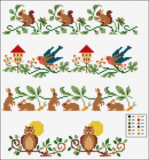 Cross Stitch Pattern FREE download instantly in PDF file, to embroider some drawings of springtime