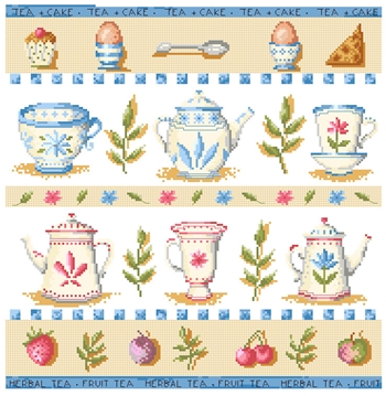 Tea, cafe, eggs, cups, teapots and cakes to cross stitch