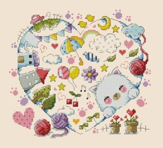 Cross stitch pattern FREE download instantly in a PDF file, to embroider hearts and cats