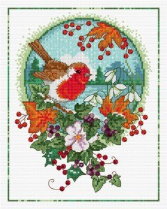 Cross stitch pattern FREE download instantly in a PDF file, to embroider a winter robin bird