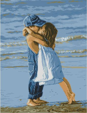 Cross Stitch Pattern for download in PDF file, print and embroidery drawing of two children kissing on the beach
