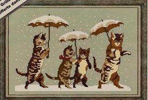 Cross stitch pattern FREE download instantly in a PDF file, to embroider three cats in the rain