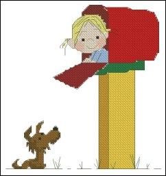 Cross stitch pattern with FREE download instantly in PDF file, to embroider a baby inside mailbox