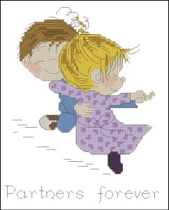 Cross stitch pattern with FREE download instantly in PDF file, to embroider children dancing