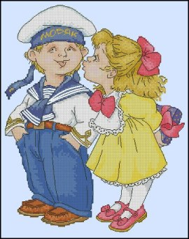 Cross stitch pattern to FREE download instantly in PDF file, with girl kissing boy