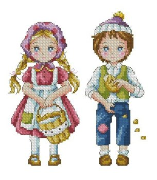 Cross stitch pattern to FREE download instantly in PDF file, with Hansel and Gretel