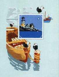 Cross stitch pattern to FREE download instantly in PDF file, with seascape