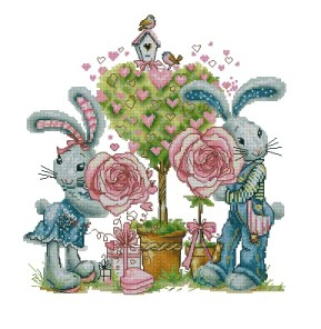 Cross stitch pattern to FREE download instantly in PDF file, with rabbits in love