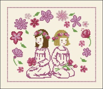 Cross stitch pattern to FREE download instantly in PDF file, with girls and flowers