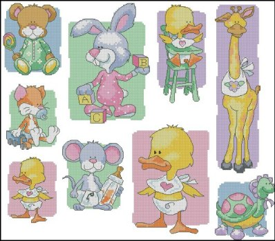 Cross stitch pattern to FREE download instantly in PDF file, with baby animals