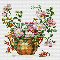 Cross stitch pattern to FREE download instantly in PDF file, with flowers in a vase