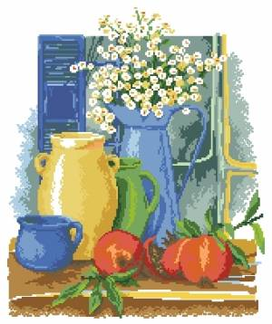 Cross stitch pattern to FREE download instantly in PDF file, with still life