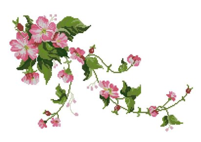 Cross stitch pattern to FREE download instantly in PDF file, with wild roses