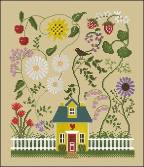 Cross stitch pattern to FREE download instantly in PDF file, with house in spring