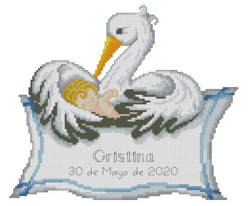 Cross stitch pattern to FREE download instantly in PDF file, with a baby birth sampler