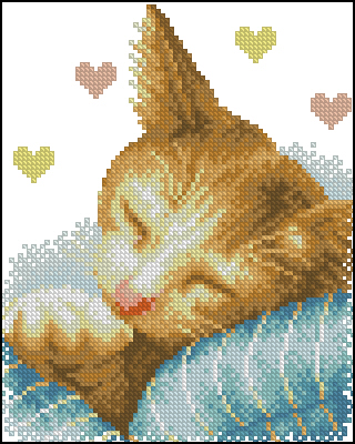 Free cross stitch pattern in PDF, with a kitten, by subscribing to the MisLabores.com Newsletter