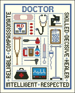 Cross stitch pattern to FREE download instantly in PDF file, and embroider doctor supplies