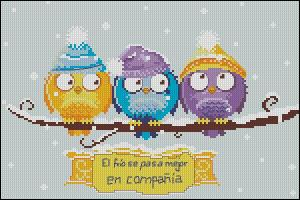 Cross stitch chart to download for FREE in PDF, print and embroider three little birds covered with snow in winter