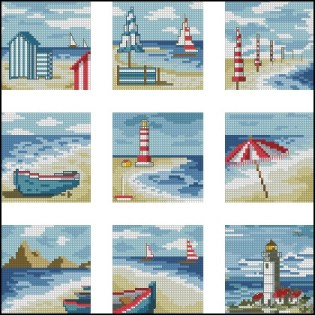Instant download FREE cross stitch pattern in PDF file with some summer beach landscapes