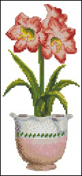 Cross stitch pattern to download for FREE in PDF, print and embroider a flower pot